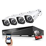 Kit de CCTV de 4 canales SANNCE xPoE NVR 1080P con disco duro de 1 TB ...