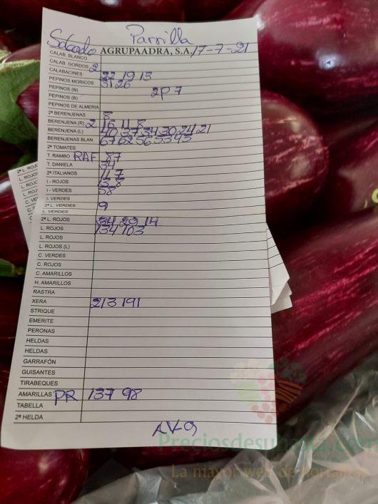 Subasta hortofrutícola AgrupaAdra 17 de julio 2021