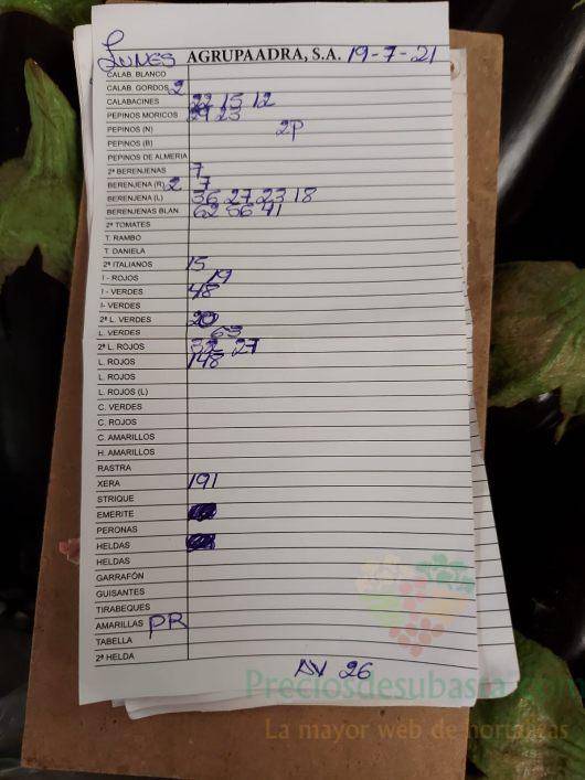 Subasta hortofrutícola AgrupaAdra 19 de julio 2021
