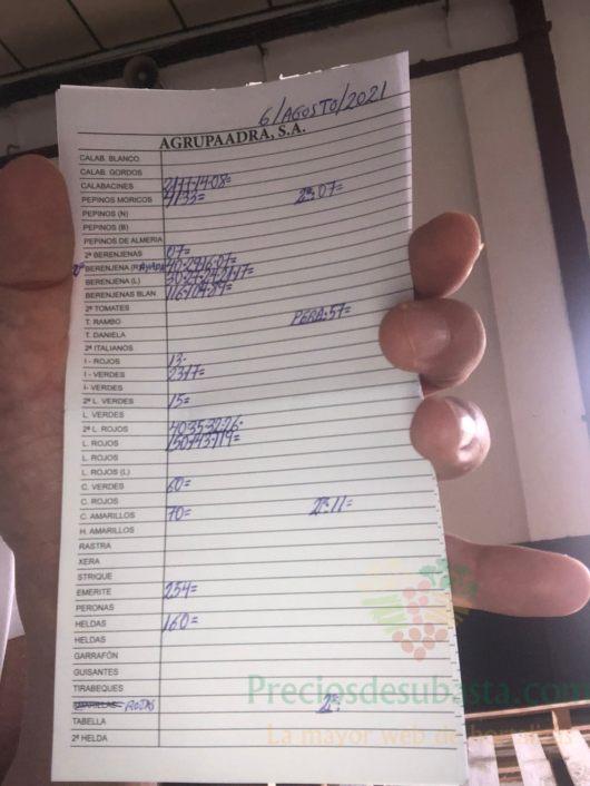 Subasta hortofrutícola AgrupaAdra 6 de agosto 2021