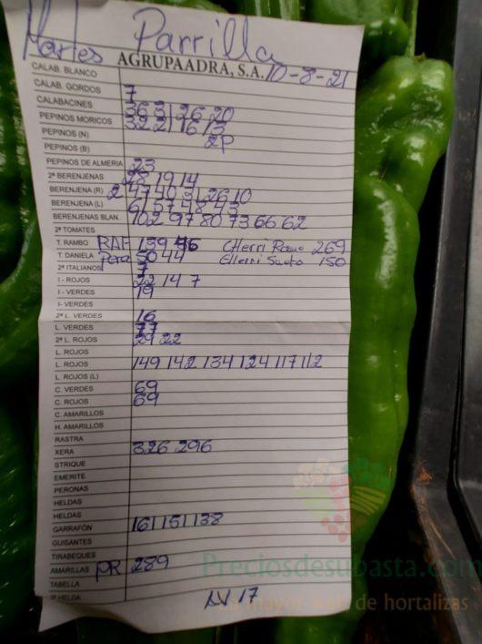 Subasta hortofrutícola AgrupaAdra 10 de agosto 2021
